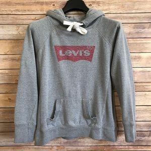 Levi's Gray Red Logo Hoodie Sweatshirt